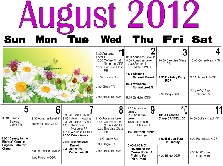 Maple Crest August Activity Calendar On The Icon  The Bluffton Icon