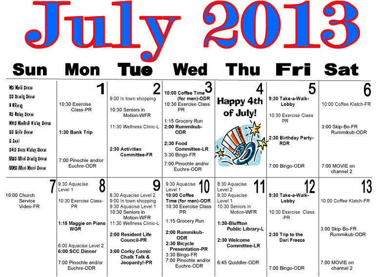 July Calendar Ideas : Maple crest july activities calendar on the icon
