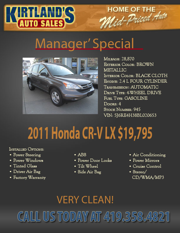 New Manager S Special At Kirtland S Auto Sales The