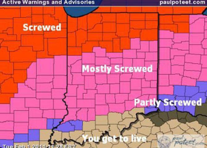 Icon's winter storm warning level