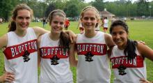 Senior girls on the BHS girls' cross country team: Jene Sommers, Amber Bewsey, Andrea Spallinger and Evania Bonifaz.
