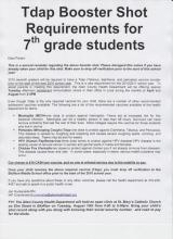 Letter to parents of 7th graders
