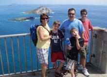 Moyer family celebrating Ian's graduation on Oahu