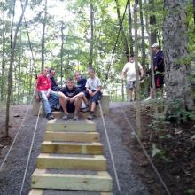 Justin Paul and crew at the new steps at the swinging bridge